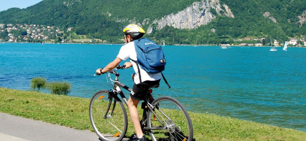 Activities at the Lake Carouge campsite - bike ride on Lake Bourget.